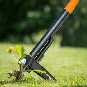 Fiskars 139950 Xact Weed Puller - Black/Orange Garden Tool Stainless Steel