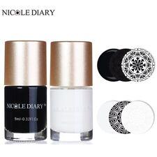 2Bottles NICOLE DIARY Nail Art Stamping Polish Black White  Varnish 9ml