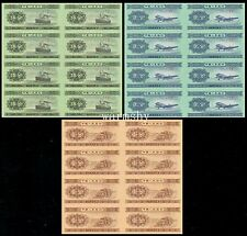 China 1953 Banknotes 1 2 5 Fen 8 Sheet Uncut Bills With Certificate 3 PCS UNC