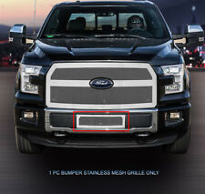 Chrome Wire Mesh Grille Bumper Insert For 15-17 Ford F-150 F150 XLT Eco Boost