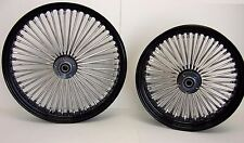 DNA BLACK MAMMOTH 52 FAT SPOKE WHEELS 21x3.5 & 18x5.5 DYNA STREET BOB HARLEY