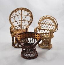 3 Stühle Puppenhaus / Puppenstube (Holz, Binsengeflecht, Rattan, Korbstuhl