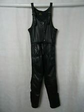Women's Akito Black Leather Motorcycle Trousers Bib Overalls UK14 W30 L29