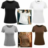 Pure Color Womens Classic T-shirt Crew Neck Summer Short Sleeve Tee Tops Blouse