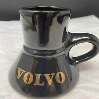 Vintage Volvo Black Ceramic Coffee Cup Gold No Tip Wide Bottom Car Dashboard Mug