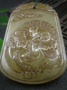 Chinese Antique Celadon Nephrite Hetian-OLD QING Jade wealth Statues/Pendant727