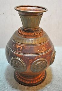 Originale Antico Mano Crafted Rame Ottone Goffrato Fiore Pentola Vaso