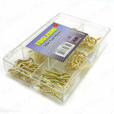 "66Pc 1/2""-1 1/4"" BRASS SHOULDERED SCREW CUP HOOK Small-Large Picture Hanging Set"