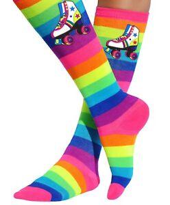 Roller Skate Rainbow Knee High Socks Skating Party Birthday Gift Bubblegum Divas