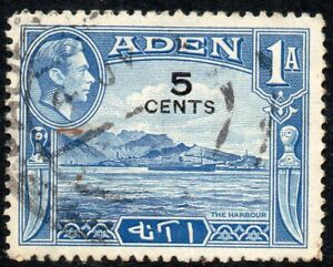 1951 Aden Sg 36 5 cents on 1a pale blue Re-entered Right Dagger Pommel Flaw Used