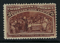 SCOTT 234 1893 5 CENT COLUMBIAN EXPOSITION ISSUE MNH OG F-VF CAT $92!