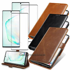 Samsung Galaxy S10+/ Note 10+ Leather Flip Wallet Case Cover w/Screen Protector