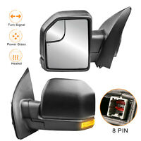 LH+RH Side Power Heated Towing Mirrors w/ LED Turn Signal For 15-17 Ford F150