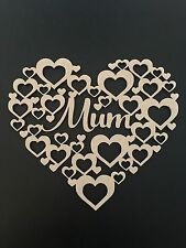 Wooden Mum Heart Plaque Craft Mothers Day Birthday Gift Also available in Welsh