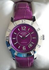 Rotary Ladies LS03437/51 Diver Dolphin Standard Purple Leather Watch RRP£129 NEW