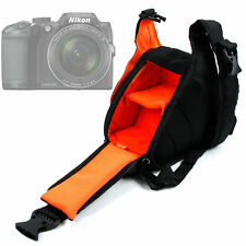 Triangle Black & Orange Shoulder Sling Bag Case For Nikon Coolpix B500 Camera
