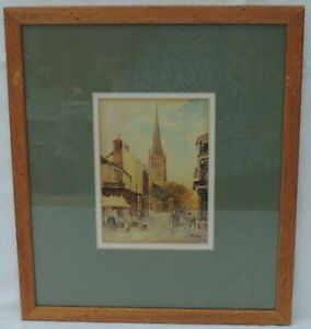 Signed Watercolour off Butchers Row, Coventry 1932 - by H E Cox (1869-1941)