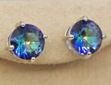 18K White Gold Filled - 9MM Round MYSTICAL Topaz Gemstone Cocktail Earrings
