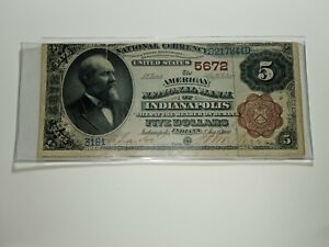 1882 $5 Brown Back The American National Bank Of Indianapolis, Indiana....