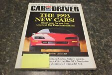 CAR AND DRIVER THE 1993 NEW CARS! OCTOBER 1992 VOL.38 #4 9248-1 [LOC.ELK] #461