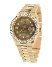 18K Mens Yellow Gold Rolex President Day-Date 36MM Prong Set Diamond Watch 5.5CT