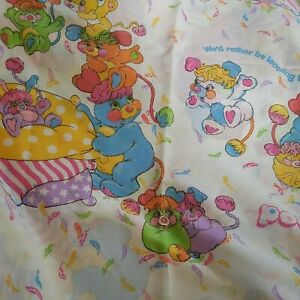 Rare Vintage Popples Flat Top Twin Bed Sheet 1980's American Greetings