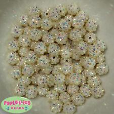 12mm Cream Resin Rhinestone Bubblegum Beads Lot 40 pc.chunky gumball