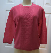 WORTH Solid Coral Pink Textured Panel Wool 3/4 Sleeve Knit Top size M $348 NWT
