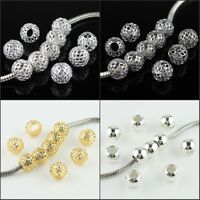20pcs Silver Gold Mesh Net Round Ball Big Hole Spacer European Charm Beads 10mm