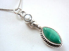 Freshwater Pearl and Malachite Marquise Necklace 925 Sterling Silver New