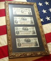 4 Framed Confederate $100 Bills Notes T-56, (3)T-41 Gold Frame Black Matting!!!