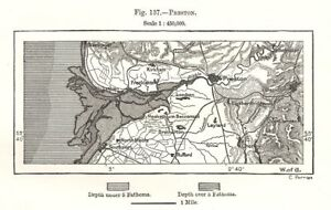 Preston & Ribble Estuary valley. Lancashire. Sketch map 1885 old antique