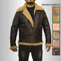RAF B3 Men's New Winter Real Ginger Shearling Sheepskin Flying Leather Jacket