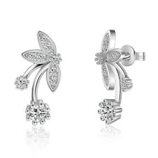Women-Sterling-Silver-Plated-Marquise-Zircon-Butterfly-Ear-Stud-Earrings