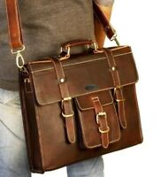 Leather Shoulder Briefcase Attache Bag for laptop college office travel Bag