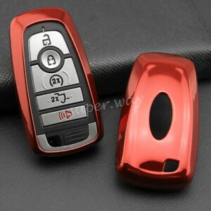 For 2018 2019 Ford Mustang Ecosport Smart Car Key Fob Cover Case Holder Red