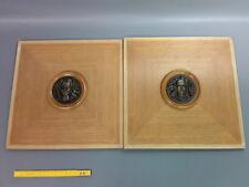 Lote de 2 paneles madera con medallón metal para puertas o deco mueble