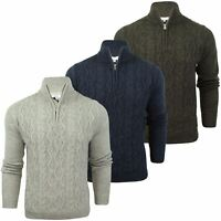 Mens Wool Blend 1/4 Zip Neck Arran Jumper by Xact