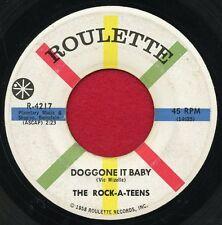"""THE ROCK-A-TEENS """"Doggone It Baby/Twangy"""" Roulette 4217 VG+ Rockabilly"""