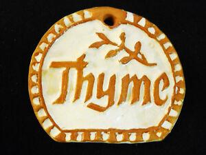 THYME Herb Garden Sign, Plant Marker, Herbal Art Handmade Ceramic Stoneware Tile
