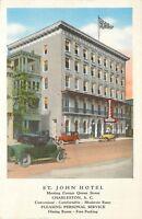 South Carolina, SC, Charleston, ST John Hotel Linen Postcard