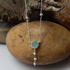 STERLING SILVER 925 BEADED PEARL & AQUA CHALCEDONY GEMSTONE HANDMADE NECKLACES