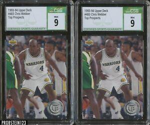 Investor Lot Of (2) 1993-94 Upper Deck #483 Chris Webber RC Rookie CSG 9