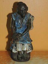 """Chinese Mud Man/ Men Blue Robe w scroll 5.5"""" drip glaze unmarked Mudman Antique"""