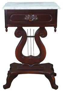 Victorian Revival Mahogany & Italian Marble Harp Lyre Side End Parlor Table
