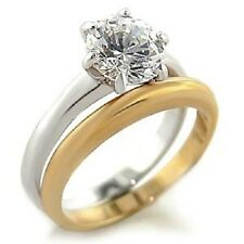 18K GOLD EP 2.0CT SIMULATED DIAMOND WEDDING SET RING size 7 or O