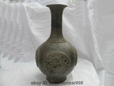 Chinese Dynasty old Bronze sculpt Dragon god Palace Pot Bottle Vase