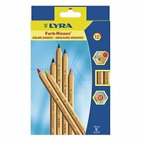 Lyra Color Giant Super Jumbo Colouring Pencils Natural Wood Finish Pack of 12