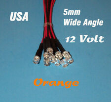 10 Pcs Led 5mm Pre Wired 12 Volt Wide View Angle Orange Prewired 12v Flat