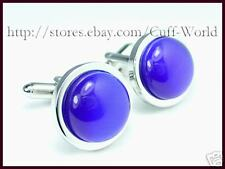 Blue Cat Eye Cuff Links Cateye Cufflinks #C-78